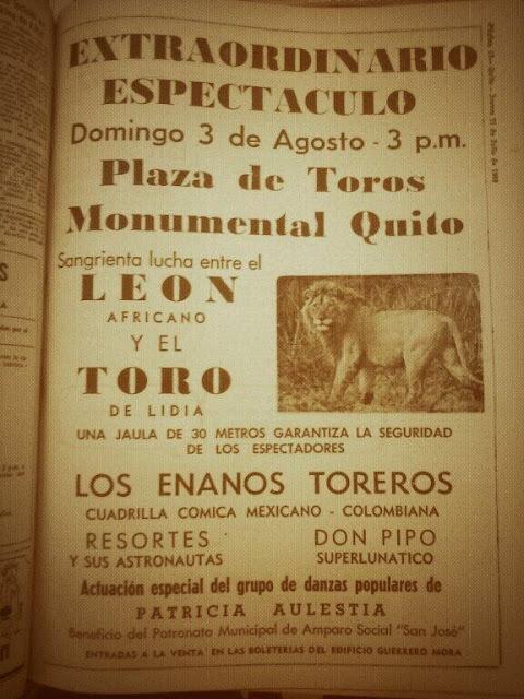Ecuador, 1969…Toro vs Leon.