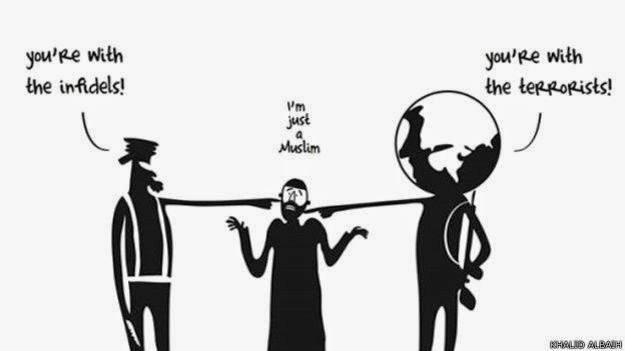 Musulmanes y su constante posición de la mitad