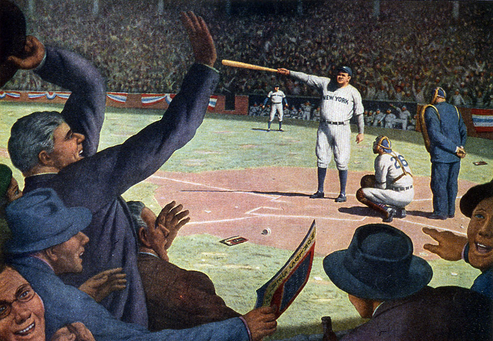 UNITED STATES - CIRCA 1933: An illlustration of Babe Ruth calling his shot in the fifth inning of the third game, 1932 World Series, He then proceeded to hit a homerun where he pointed his bat, Colored illustration, 01/01/1933 (Photo by Transcendental Graphics/Getty Images)