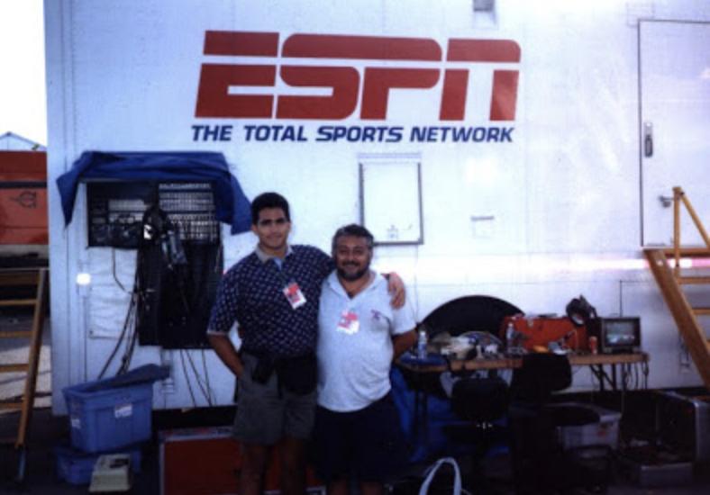 Con Roberto Camapaña en una parrillada a la que nos invitó ESPN