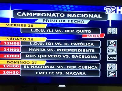 Fecha #1 del futbol ecuatoriano 2013
