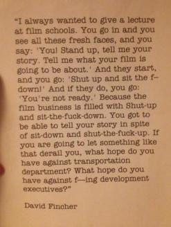 David Fincher y una lección soberbia para tu animo como cineasta…o cualquier otra cosa